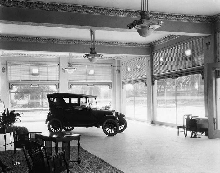 Auto showroom in 1910 showing the latest Dodge model.