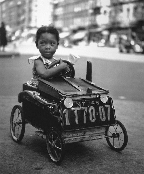 In her big girl car, 1947, New York.