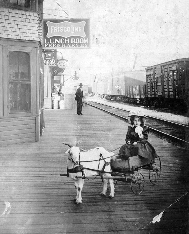 One of our favorite old photographs takes us to the train depot of Benton County, Arkansas, 1901.