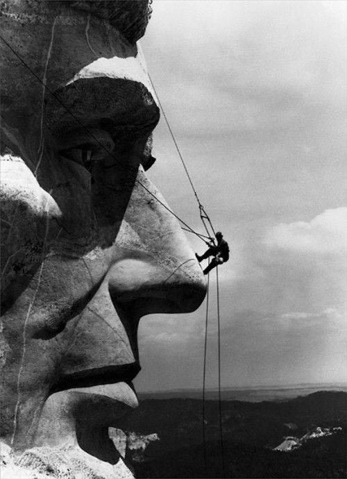 Repairs on Mount Rushmore were photographed by Gutzon Borglum June of 1962.
